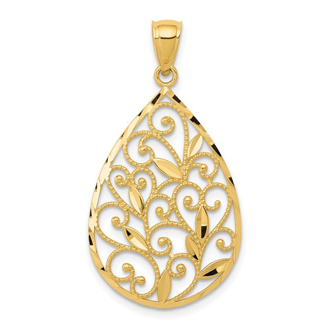 14k Gold Polished & Textured Filigree Teardrop Pendant
