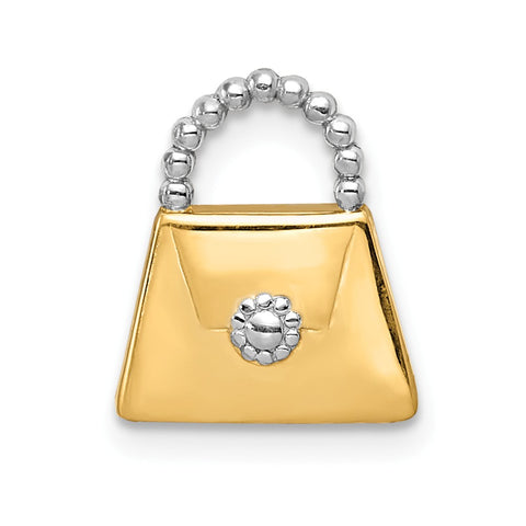 14k & Rhodium Purse Slide Pendant