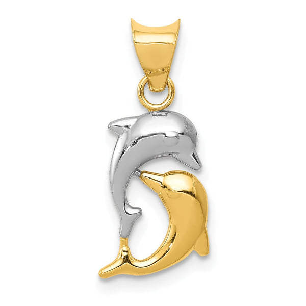 14k & Rhodium Polished and D/C Dolphins Pendant