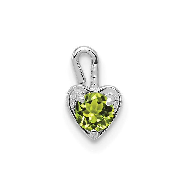 14k White Gold August Synthetic Birthstone Heart Charm
