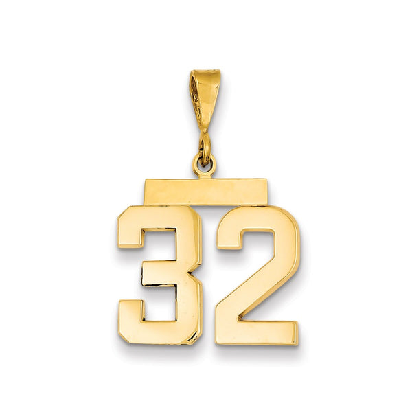14k Medium Polished Number 32 Charm