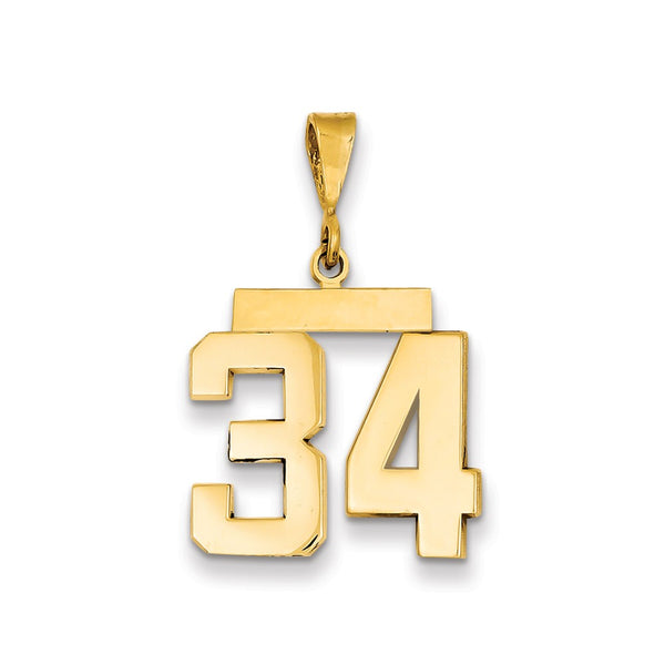 14k Medium Polished Number 34 Charm