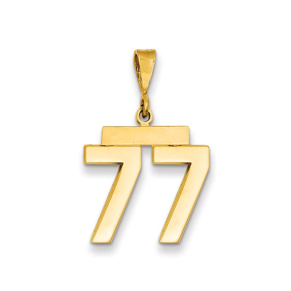 14k Medium Polished Number 77 Charm