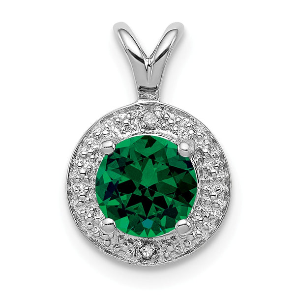 Sterling Silver Rhodium-plated Diam. & Created Emerald Pendant