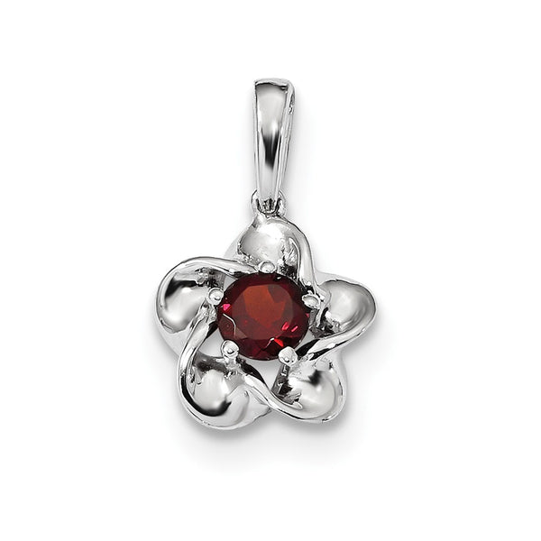 Sterling Silver Rhodium-plated Floral Garnet Pendant