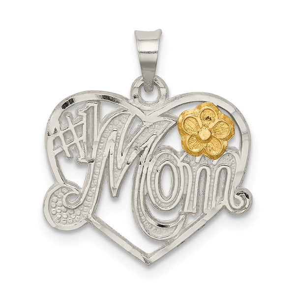 Sterling Silver # 1 Mom Heart Charm