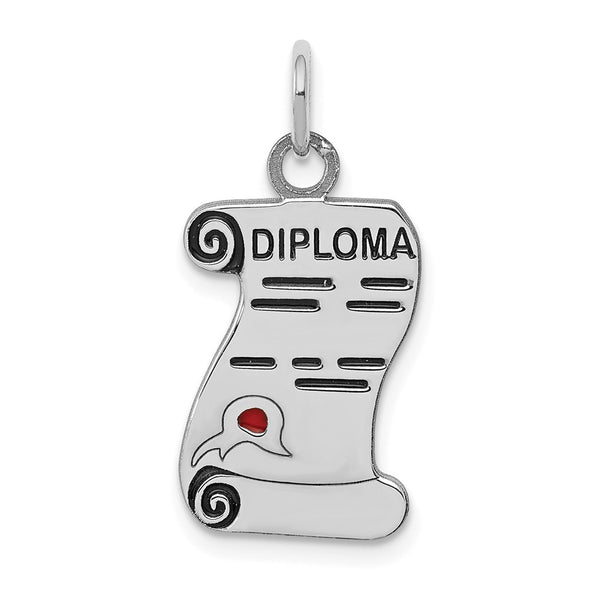 Sterling Silver Rhodium-plated Diploma Polished  Charm