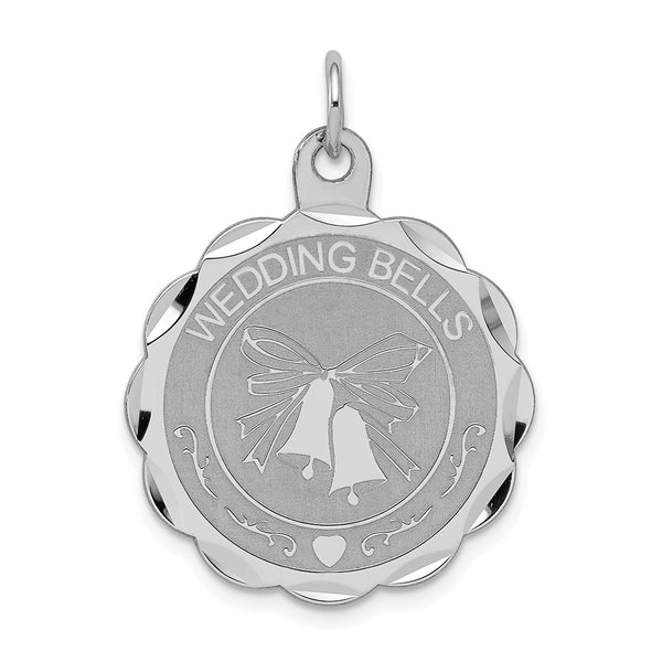 Sterling Silver Rhodium-plated Wedding Bells Disc Charm