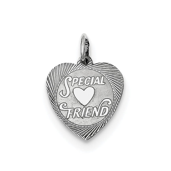 Sterling Silver Rhodium-plated Special Friend Disc Charm
