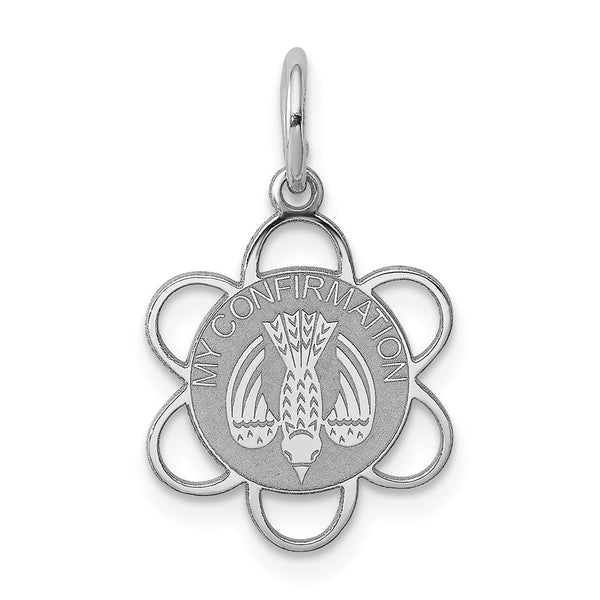 Sterling Silver Rhodium-plated My Confirmation Disc Charm