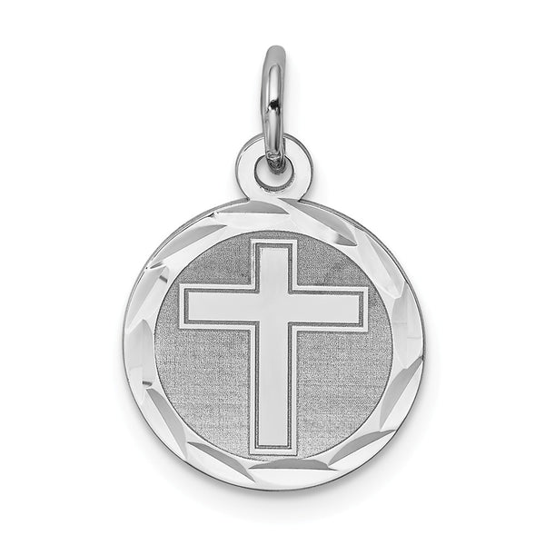 Sterling Silver Rhodium-plated Cross Disc Charm