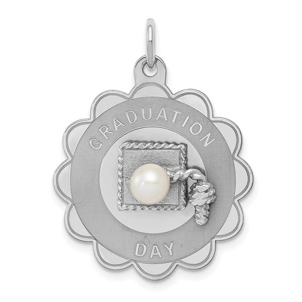 Sterling Silver Rh-plt Graduation Day Disc with FW Cultured Pearl Charm