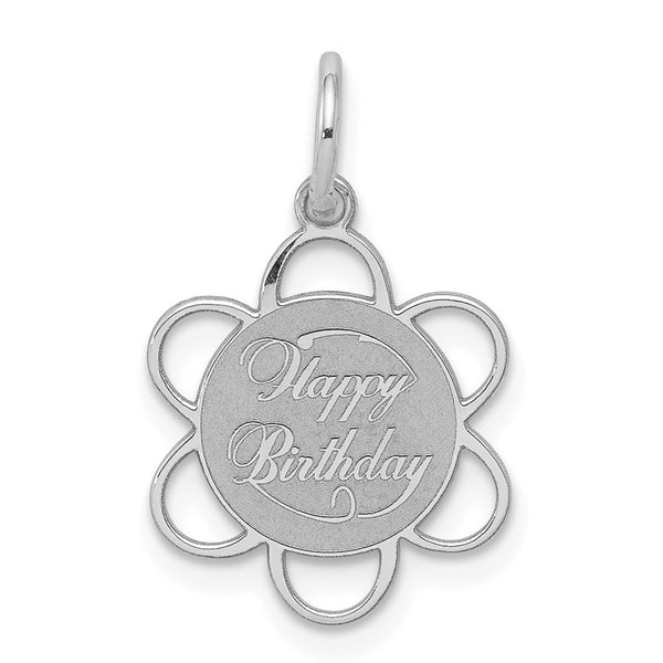 Sterling Silver Rhodium-plated Happy Birthday Disc Charm