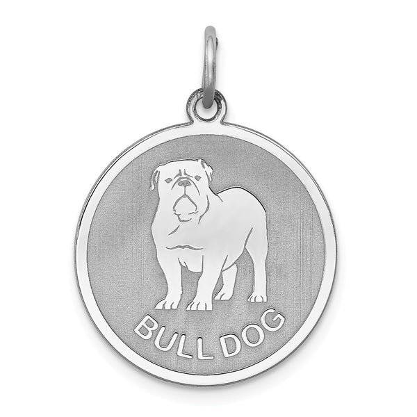Sterling Silver Rhodium-plated Bull Dog Disc Charm