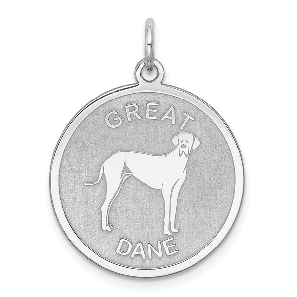 Sterling Silver Rhodium-plated Great Dane Disc Charm