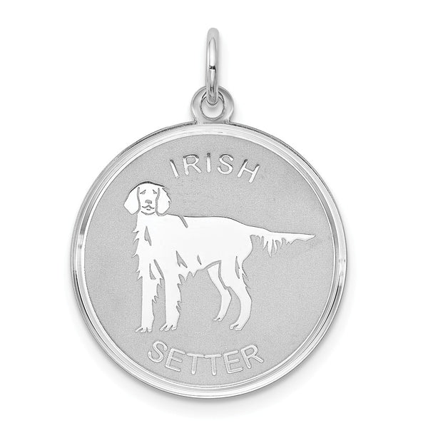 Sterling Silver Rhodium-plated Irish Setter Disc Charm