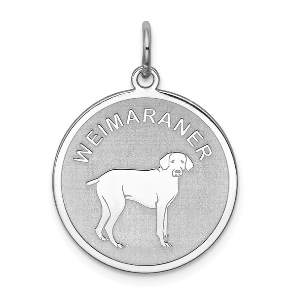 Sterling Silver Rhodium-plated Weimaraner Disc Charm
