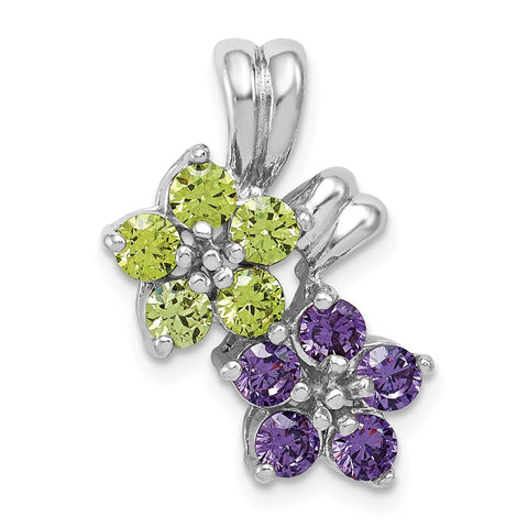 Sterling Silver Rhodium-plated Amethyst & Peridot Floral Pendant