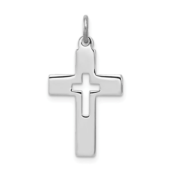 Sterling Silver Rhodium-plated Cut-out Cross Charm