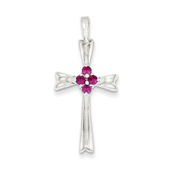 Sterling Silver Red CZ Cross Pendant