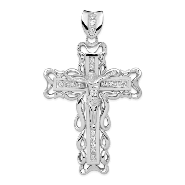 Sterling Silver Rhodium-plated CZ Crucifix Pendant