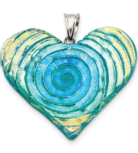 Sterling Silver Yellow, Blue, Green Dichroic Glass Heart Pendant