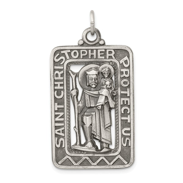 Sterling Silver Antiqued and Brushed St. Christopher Medal