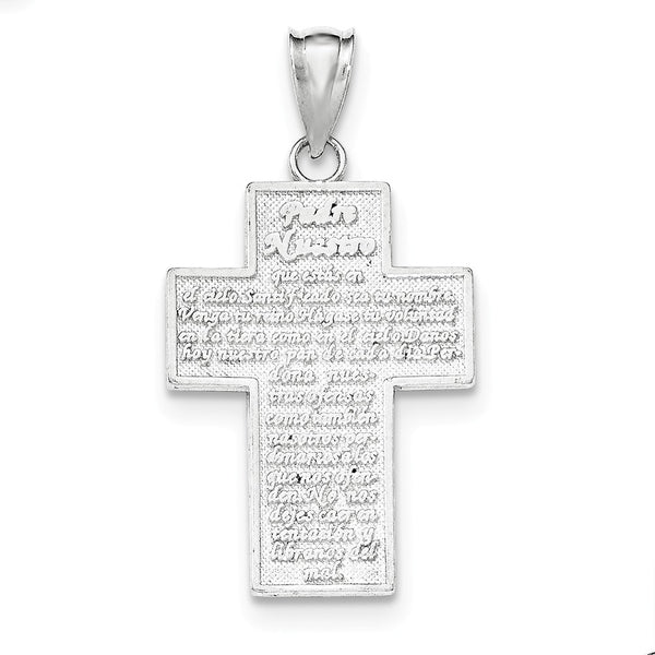 Sterling Silver Polished Padre Nuestro Engraved Cross Pendant