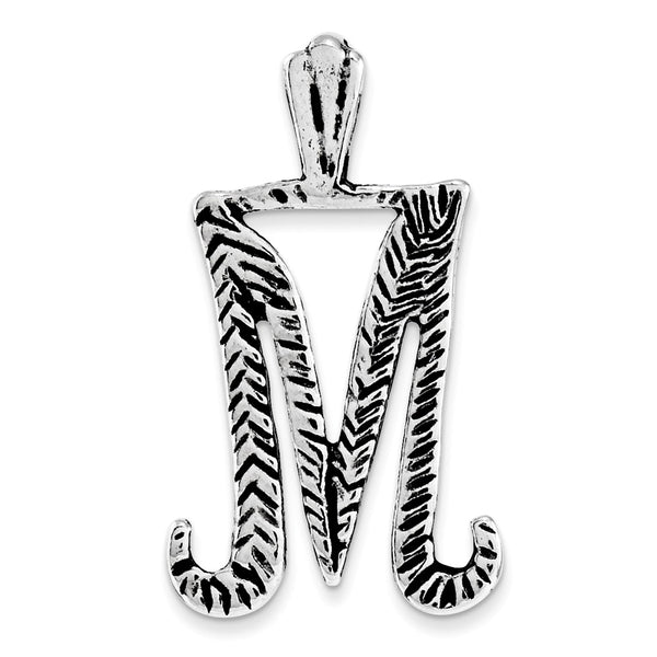 Sterling Silver Antiqued & Textured Letter M Chain Slide