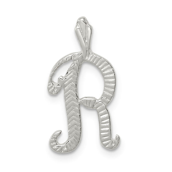 Sterling Silver Polished & Textured Letter R Chain Slide
