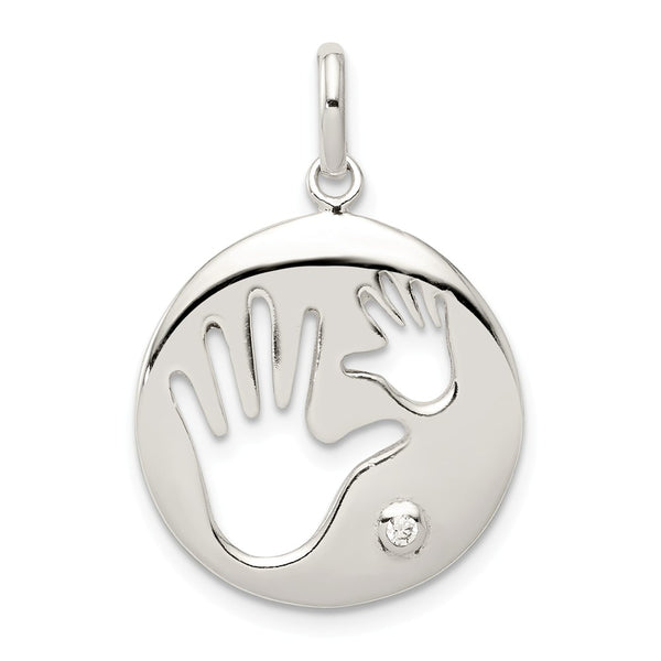 Sterling Silver Polished CZ Cut Out Hands Pendant