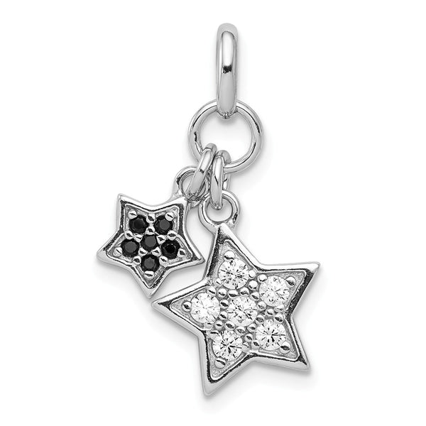 Sterling Silver Rhodium-plated clear CZ Star Pendant