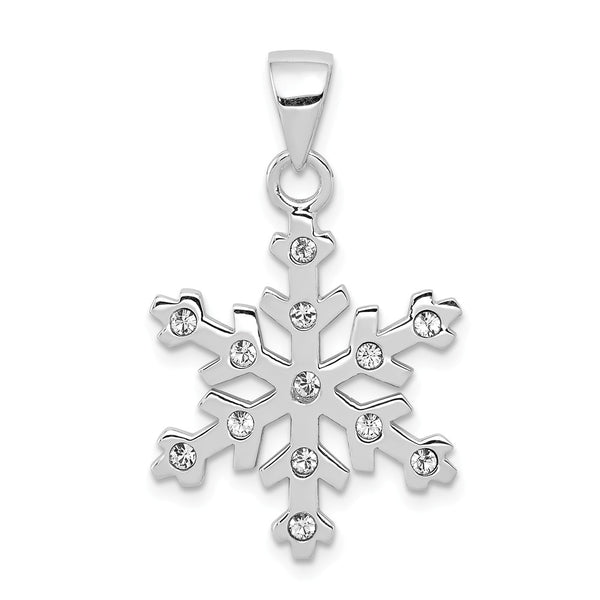 Sterling Silver Rhodium-plated & Crystal Snowflake Pendant