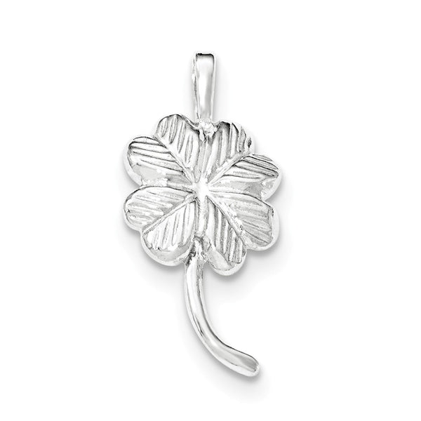 Sterling Silver Polished & Textured Clover Chain Slide