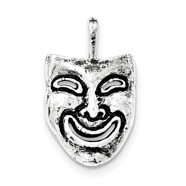 Sterling Silver Antiqued Smiling Mask Chain Slide Pendant