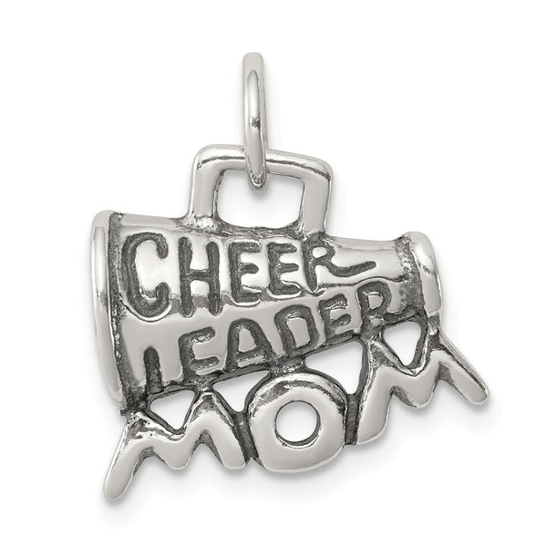 Sterling Silver Polished Antiqued Cheerleader Mom Pendant