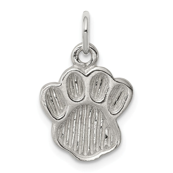 Sterling Silver Polished and Textured Paw Print Charm