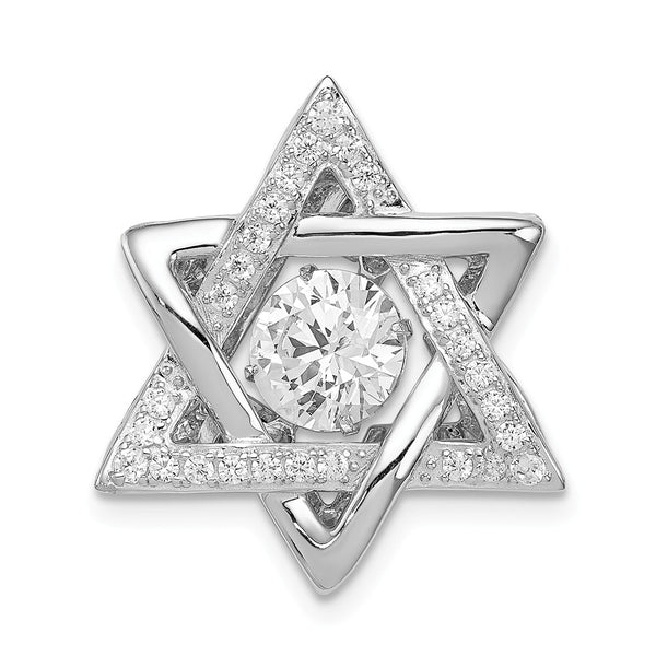 Sterling Silver Platinum-plated Polished Vibrant CZ Star of David Pendant
