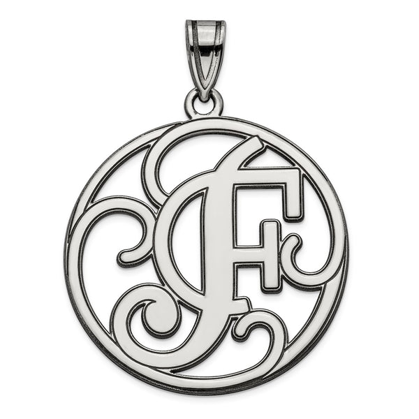 Sterling Silver Rhodium-plated Fancy Script Initial F Charm