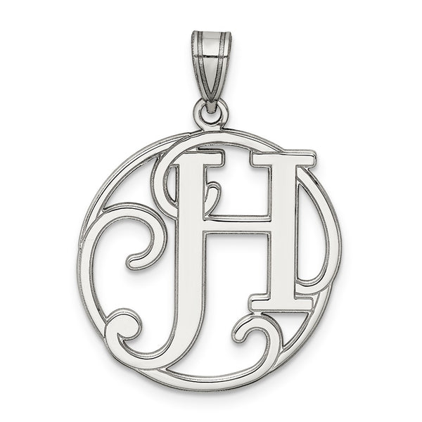 Sterling Silver Rhodium-plated Fancy Script Initial H Charm