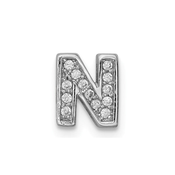 Sterling Silver Rhodium plated CZ Letter N Slide Charm