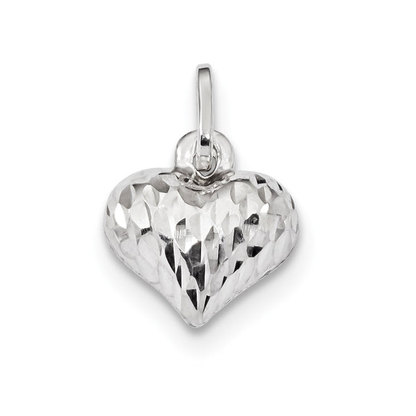 Sterling Silver Rhodium Plated Polished Diamond Cut Puffed Heart Charm