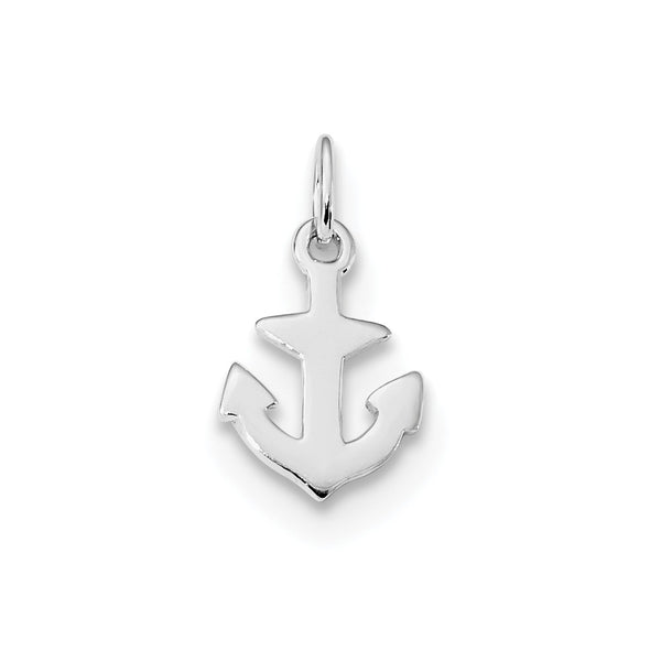 Sterling Silver Rhod-plated Polished Anchor Charm