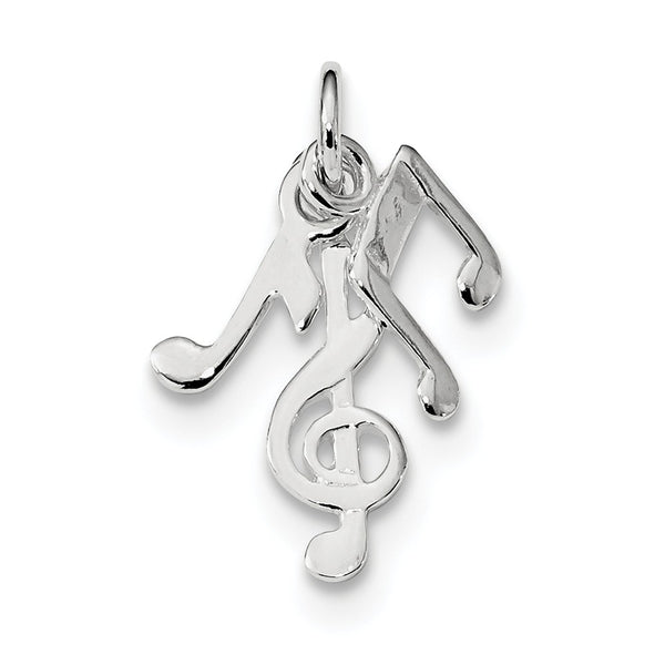 Sterling Silver Rhod-plated Polished Music Notes Charm