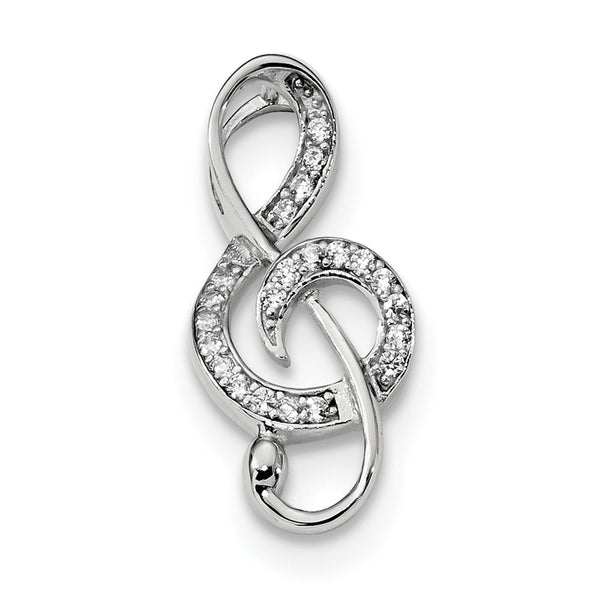 Sterling Silver Rhodium-plated CZ Treble Clef Slide