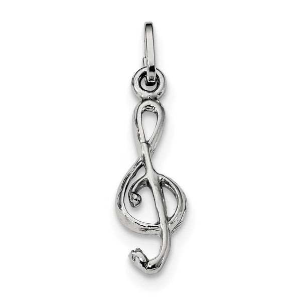 Sterling Silver Rhodium Plated Polished Treble Clef Charm