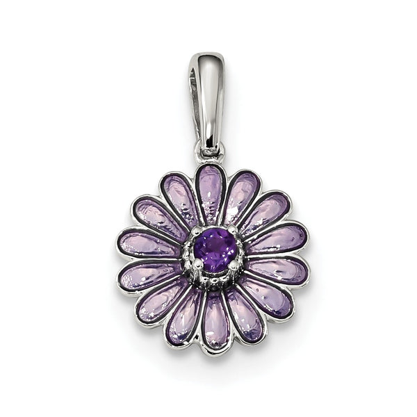 Sterling Silver Amethyst and Enamel Pendant