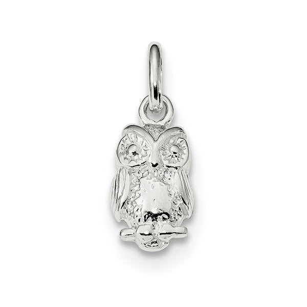 Sterling Silver Polished Owl Charm
