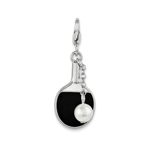 SterlingSilver Enamel Simulated Pearl Paddle w/Lobster Clasp Charm