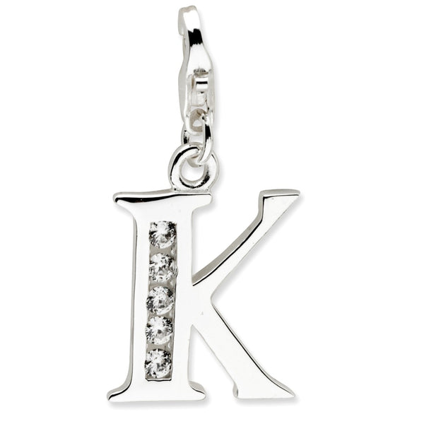Sterling Silver CZ Letter K w/Lobster Clasp Charm